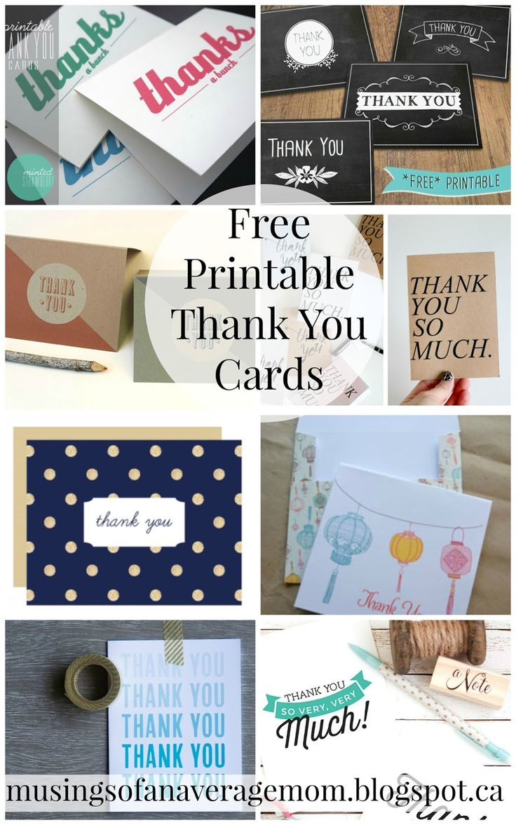 Musings of an Average Mom: Free Printable Thank You Cards