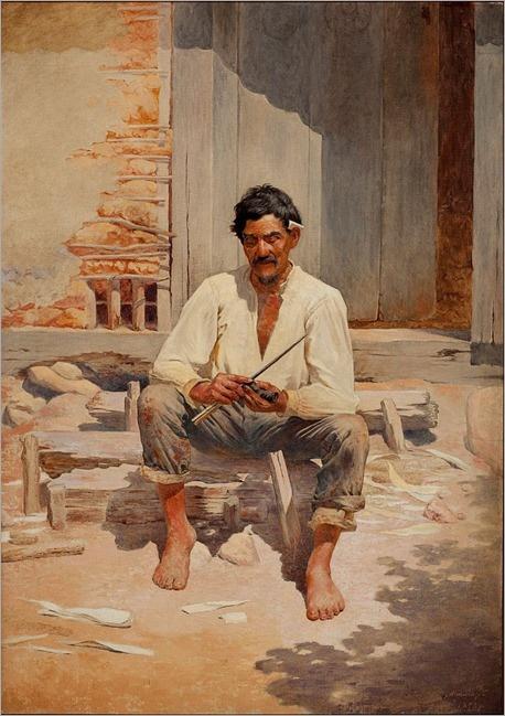 """""""Caipira picando fumo"""", 1893.  Por Almeida Júnior."""