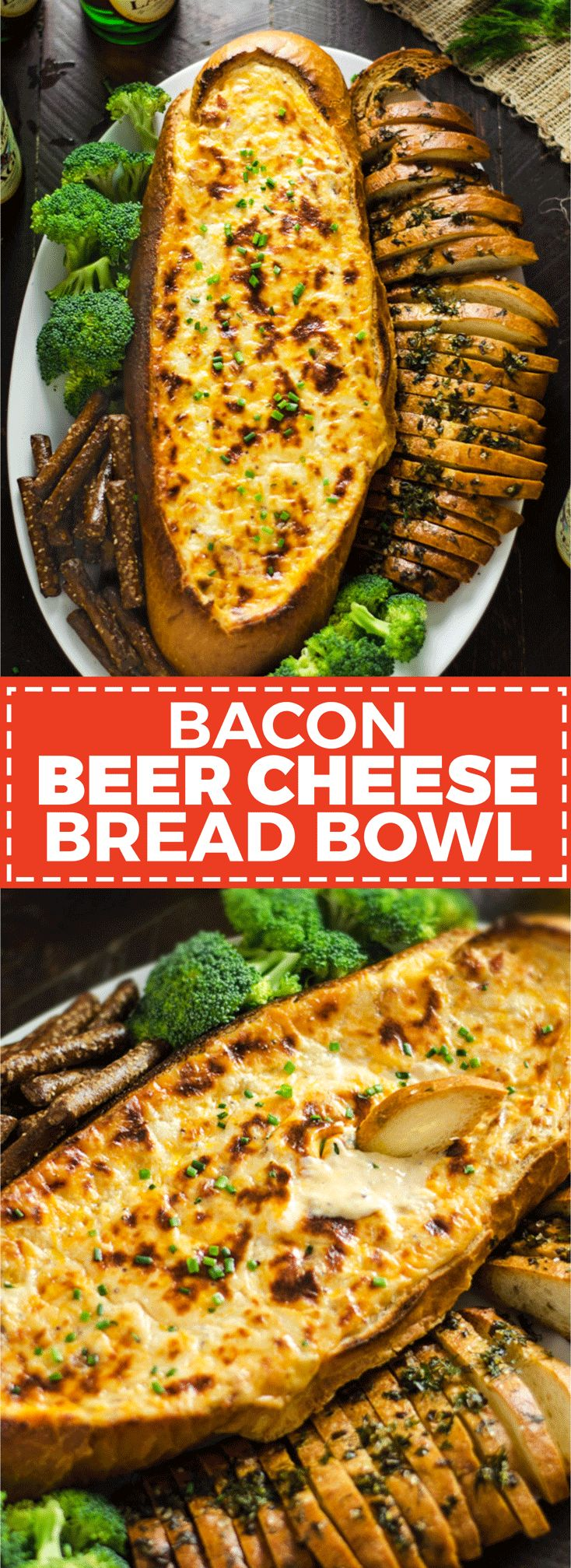 Bacon Beer Cheese Bread Bowl. A flavorful, fondue-like beer cheese studded with crumbled bacon is baked inside of Italian bread and served with garlic and herb crispy bread slices. It's the perfect easy-to-make snack for your Super Bowl party.