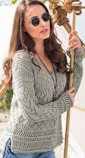 Пуловер с сочетанием узоров и удлиненной спинкой, фото