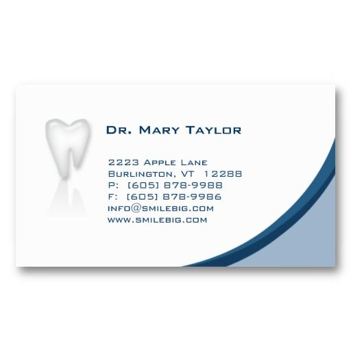 Dental Molar Business Card dark Blue curve