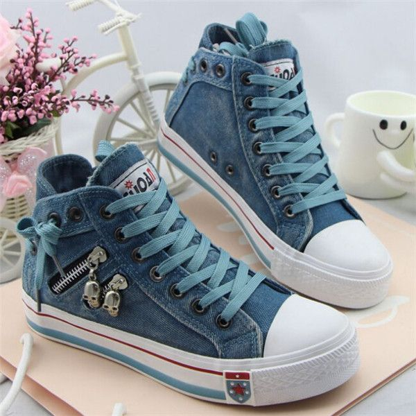 2015 New Arrive Zipper Skull  High Top Shoes Woman Casual Flats Canvas Sneakers…