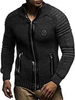 LEIF NELSON Men's Knitted Jacket Cardigan LN5175