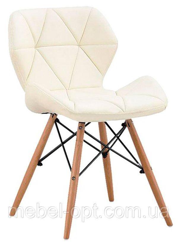 Стул Стар на деревянных ножках цвет бук натуральный, сиденье из белого кожзама прострочка по всей поверхности - Мебель опт в Киеве