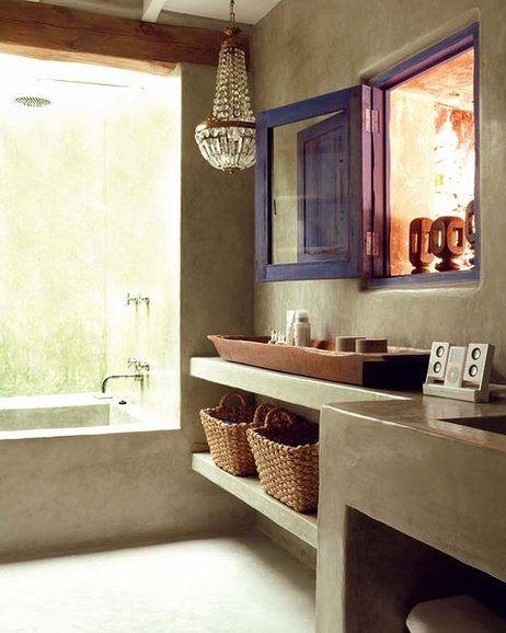 paredes y mueble de cemento pulido