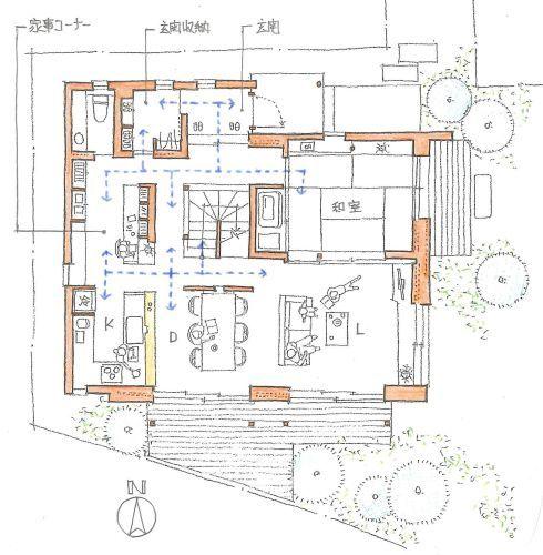 ご実家の庭先を借りて新築した、4人家族の家です。サニタリースペースを含め2階をプライベートゾーンとし、1階は、LDK・和室と言った、パブリックゾーンになっ...