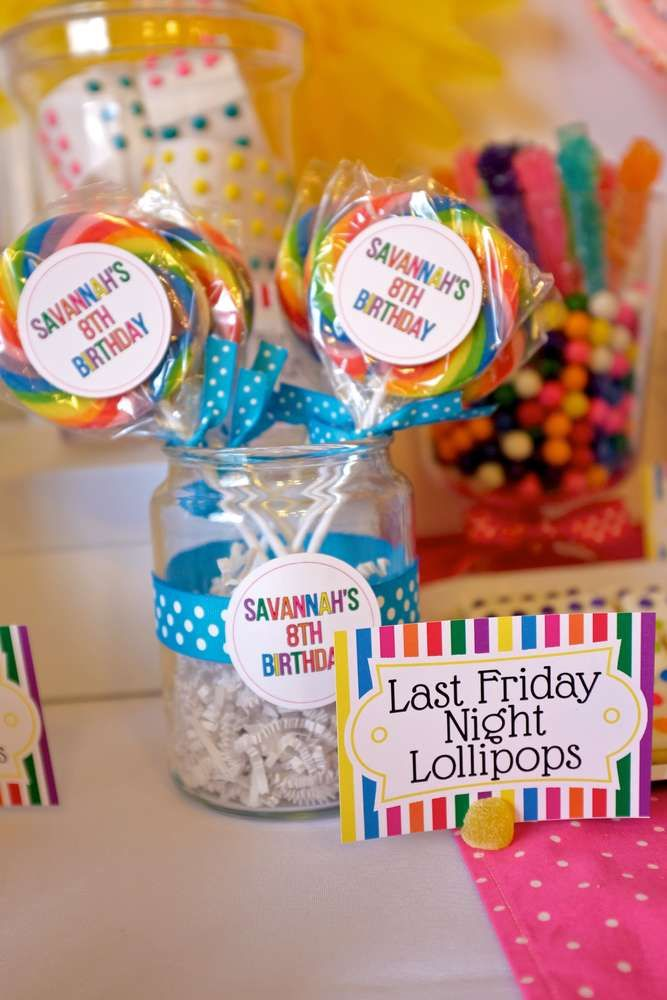 Last Friday Night lollipops at a Katy Perry birthday party! See more party planning ideas at CatchMyParty.com!