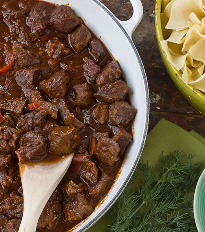 "Beef Goulash- usually what I call ""goulash"" is short cut pasta, ground beef, tomatoes, peppers, etc.- this looks delish though!"
