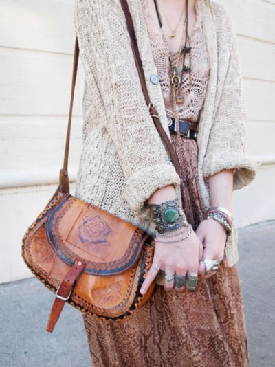 Hippie...leather stitched purse, turquoise cuff, layered necklaces, loose knit sweater, flowing maxi skirt