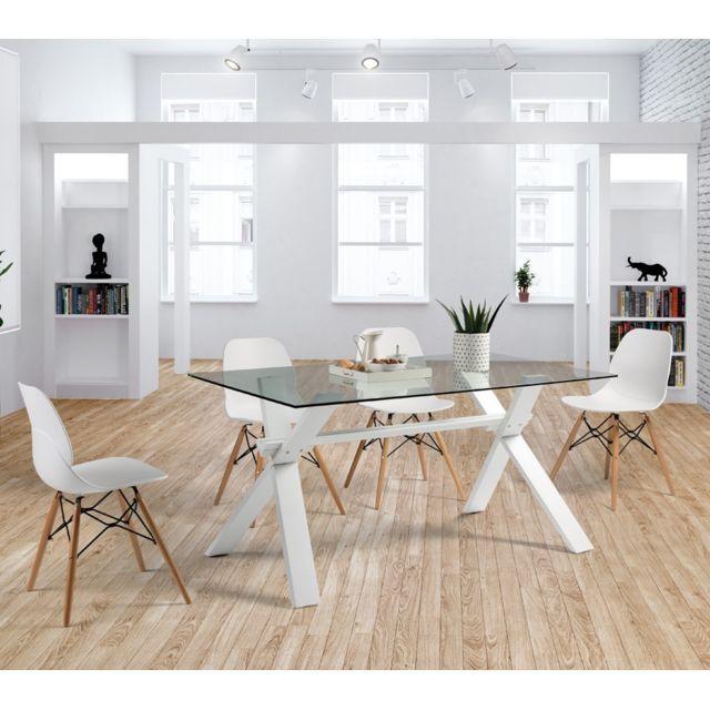 Tousmesmeubles Table de repas Verre - Ziggy - L 150 x l 90 x H 75 en