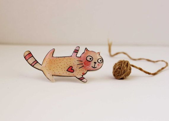 Free shipping Animal brooch pin cat pin The cat in by Dinabijushop, $19.00
