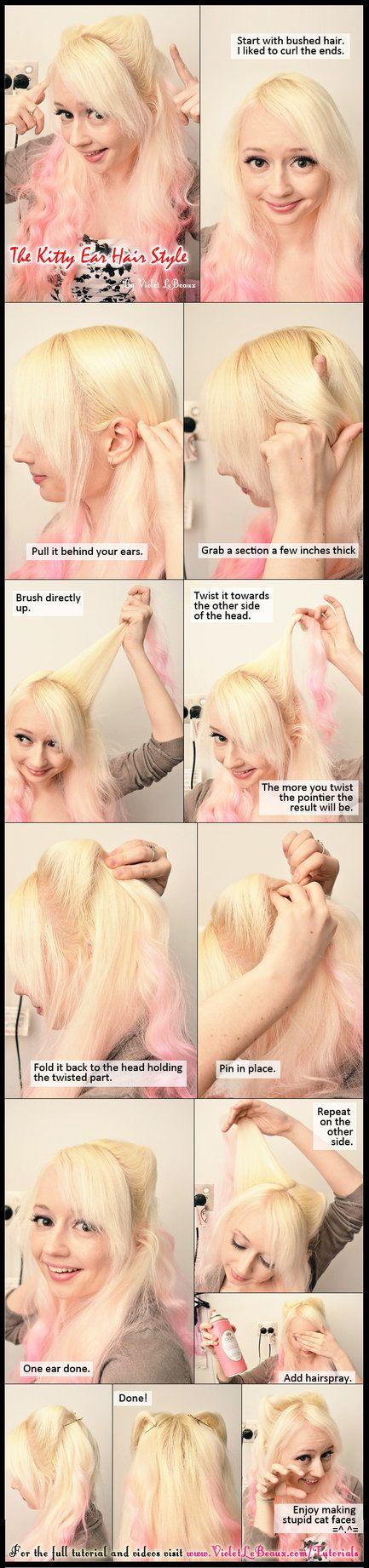 Kitty Ears Neko Mimi Hairstyle Tutorial by ~VioletLeBeaux on deviantART