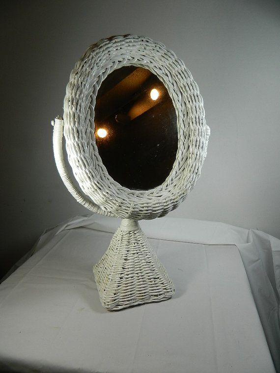 White Wicker Vanity Mirror Vintage Bridal by 3sisterstreasures, $19.99 ON SALE