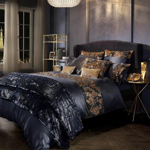 luxus bettwäsche kylie minogue satin polyester federn dunkelblau ...