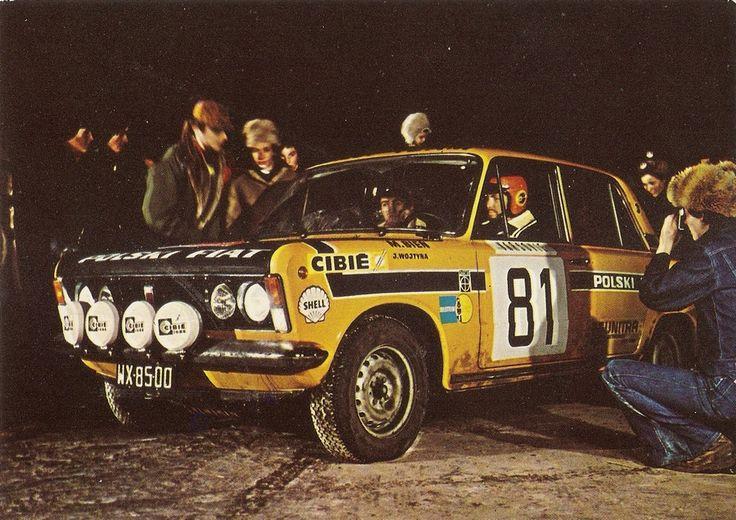 Marian Bień i Janusz Wojtyna (Polski Fiat 125p) na starcie Rajdu Monte Carlo 1973