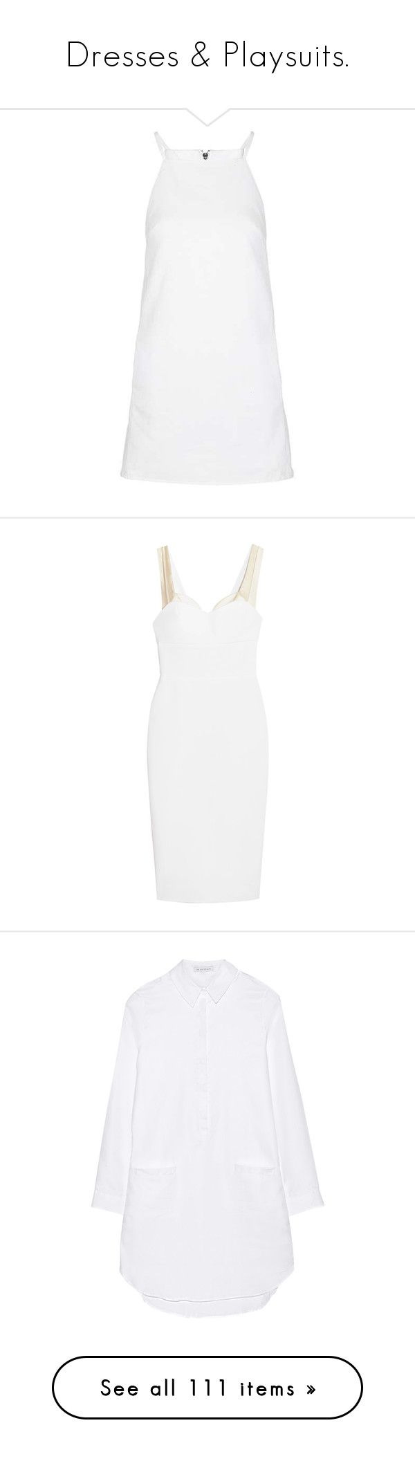 """Dresses & Playsuits."" by angie-5soslm ❤ liked on Polyvore featuring dresses, vestidos, topshop, short mini dress, white mini dress, mini dress, white colour dress, denim dresses, victoria beckham and sweetheart neckline dress"