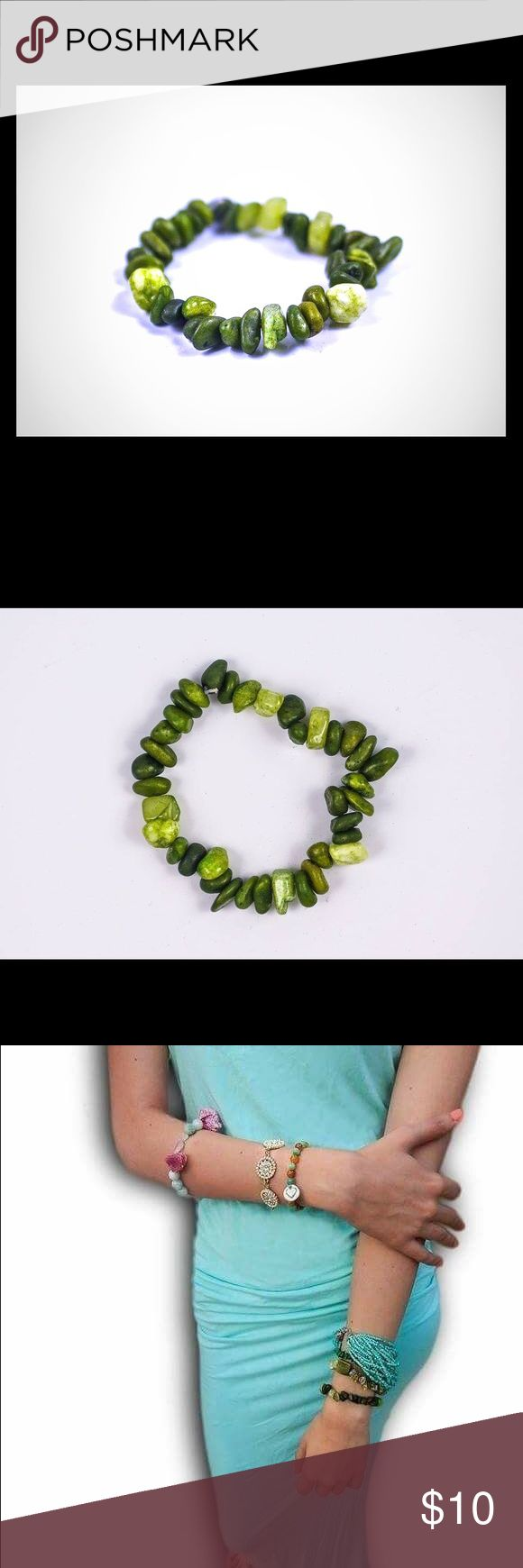 Genuine Green Quartz Healing Stone Bracelet Band NWT.  This semi-precious stone is most widely known to promote intuition, and transform negative energy into positive energy!!! Lala Motifs Jewelry Bracelets
