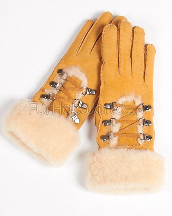 Tan Womens Shearling Sheepskin Gloves