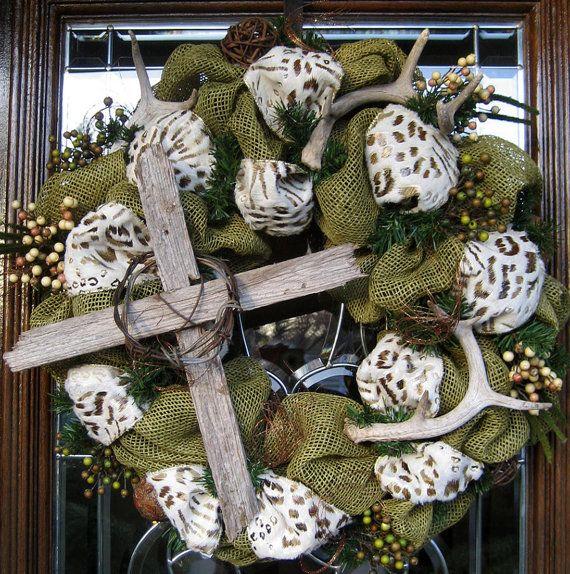 RUSTIC CROSS and ANTLER Burlap Wreath by decoglitz on Etsy, $99.00Antlers Wreaths, Burlap Wreaths, Crosses Wreaths, Rustic Crosses, Antlers Burlap, Crafts Decor, Burlap Mesh, Easter Wreaths, Deco Mesh Wreaths