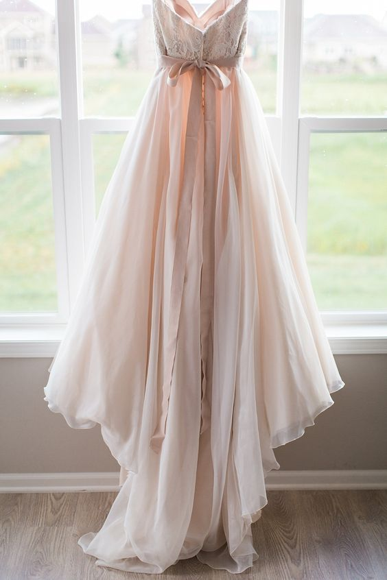 Blush-hued wedding gown