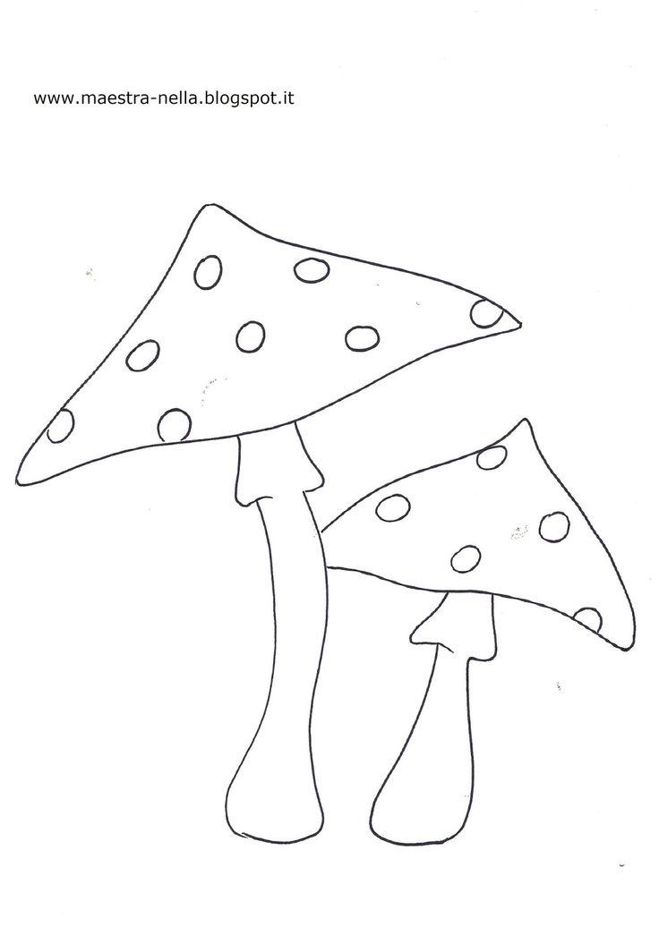 Dei funghetti, una lumachina, una mela con vermetto, foglie di vari colori, una nuvoletta con la pioggia, castagne e ghiande........