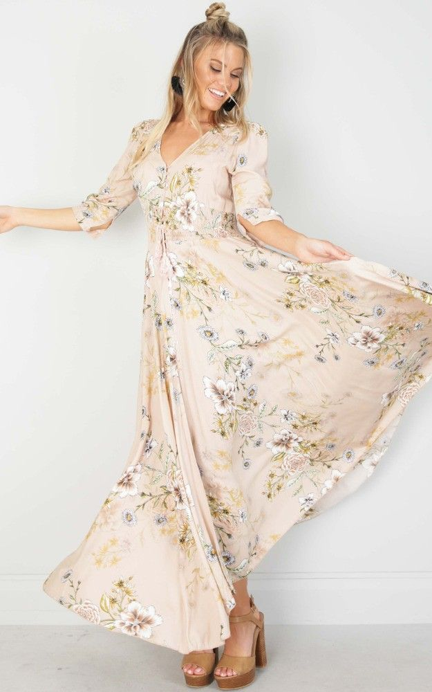 Lone Traveller Maxi Dress In Blush Floral Produced Beautiful
