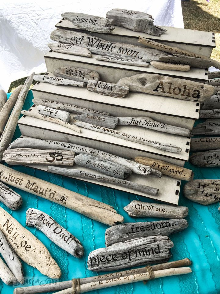 Beautiful typography burned onto driftwood by Maui Drift, at the Maui Swap Meet / funkyjunkinteriors.net