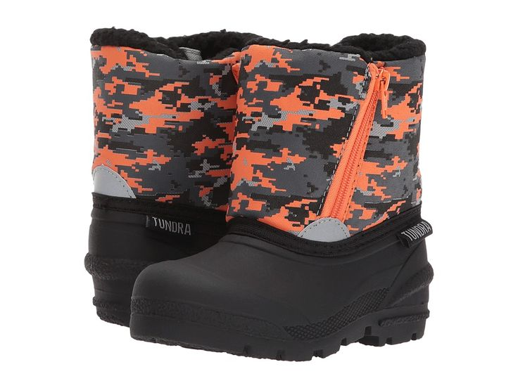 Tundra Boots Kids Lucky (Toddler) Boys Shoes Black/Orange