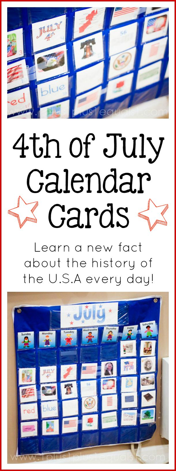 Free 4th of July Calendar Connections Cards
