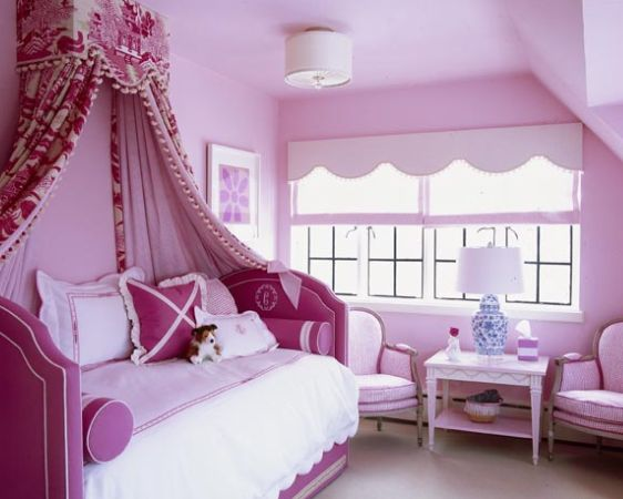 Ruthie Sommers Girl Canopy Bed. Girl's Pink Bedroom