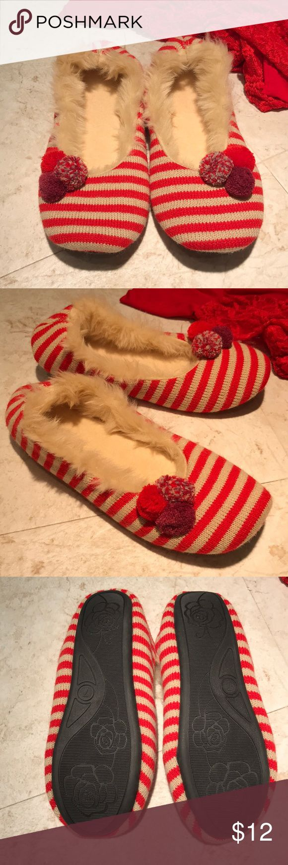 Xhilaration Red & Tan Striped Slippers Size 7 NWOT These house slippers have fun stripes and Pom poms. They feature a very comfy insole and bottoms have slip resistant sole. New without tags. Never worn. Smoke free home. (CR) Xhilaration Shoes Slippers