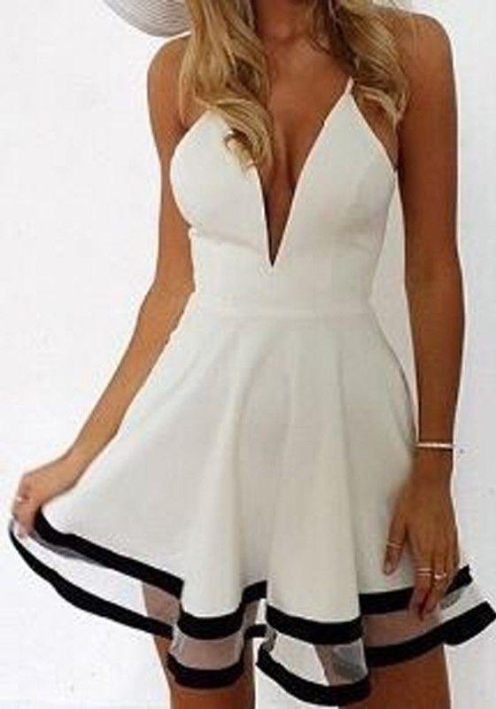 White Plain Patchwork Grenadine Condole Belt Plunging Neckline Dress
