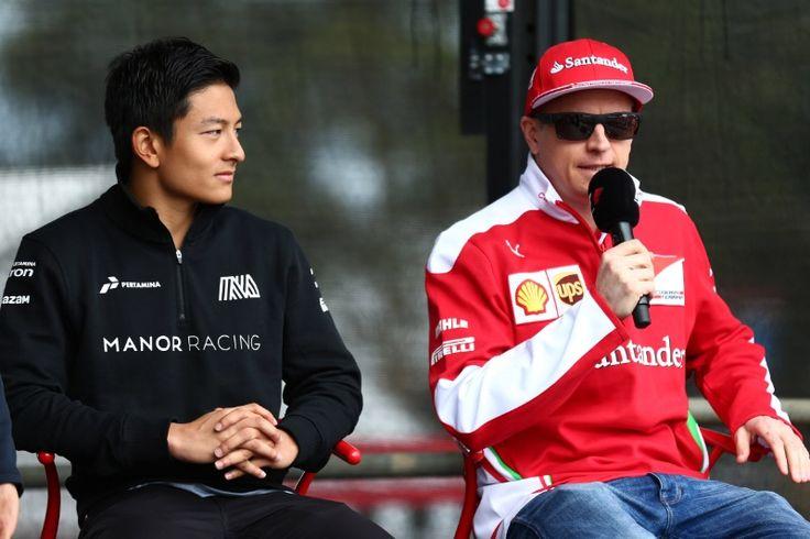 19.03.2016 - Rio Haryanto (IND) Manor Racing MRT05 and Kimi Raikkonen (FIN) Scuderia Ferrari SF16-H