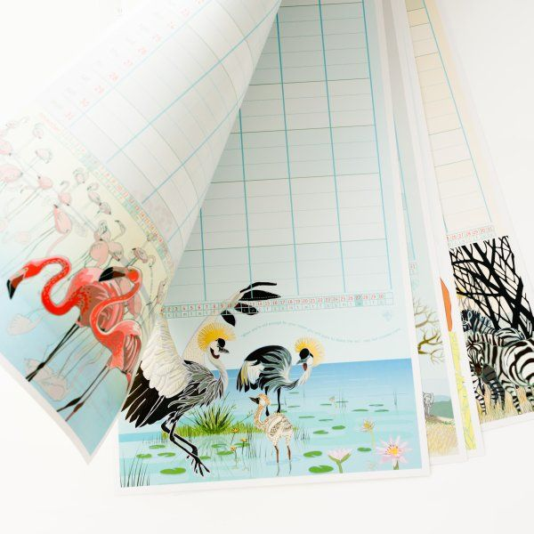 Family Calendar - each month has its own illustration of an African animal family