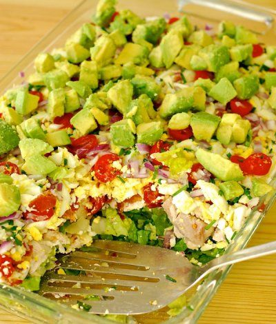 layered cobb salad {in a cake pan}