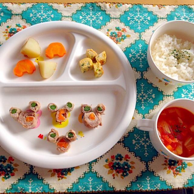 ・肉巻きアスパラと人参 ・蒸し野菜(人参、じゃがいも) ・卵焼き ・ミネストローネ ・ご飯 - 11件のもぐもぐ - 息子夕食 by eri