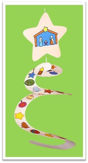 Spirale de l'Avent.  Voici un « chemin de l'Avent » en forme de spirale pour jalonner ce temps sur le thème de la joie, à faire en famille et/ou en rencontre d'éveil à la foi. Elle peut, ensuite, servir de décoration pour le sapin ou de cadeau à offrir à Noël.  Cette spirale de l'Avent est disponible dans le n°6 de Cap P'tit Vent, le journal gratuit pour l'éveil à la foi du diocèse de Lyon, téléchargeable ici: http://initiationchretienne-lyon.cef.fr/cap-p-tit-vent.html
