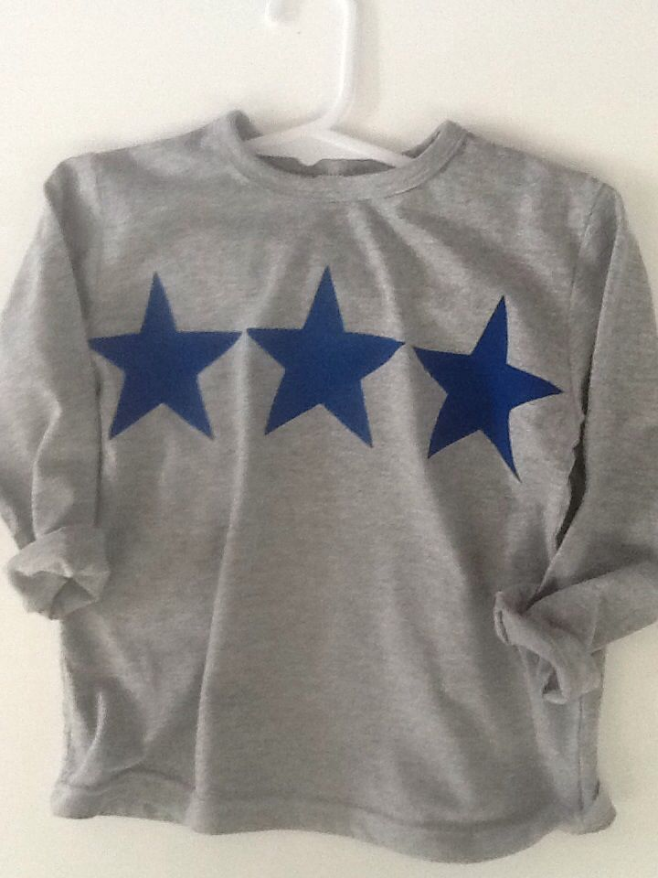 "NEW! ""Triple Star"" - grey  boy's long/sleeved tee. Cotton/viscose jersey.  Sizes 1 - 6.  Hand-painted. Limited Edition.  Eco-friendly water-based fabric paint.  Non-toxic.  Hand-painted by Claire Webber, Hobart, Tasmania.  For more info, please email: webberclaire1@gmail.com"