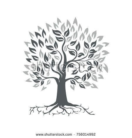 Retro style illustration of a stylized oak tree with roots on isolated background.  #oaktree #retro #illustration