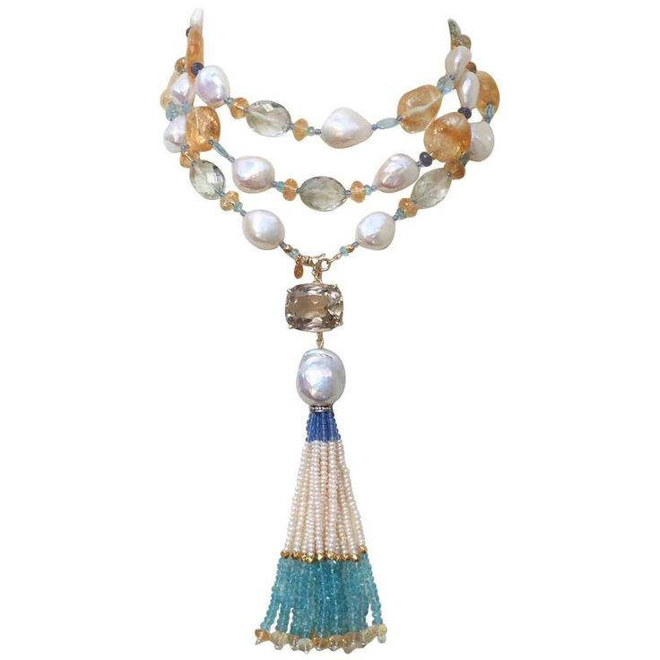 Pearl Sautoir with Blue and Yellow Semi Precious Beads and 14 Karat Gold Clasp For Sale