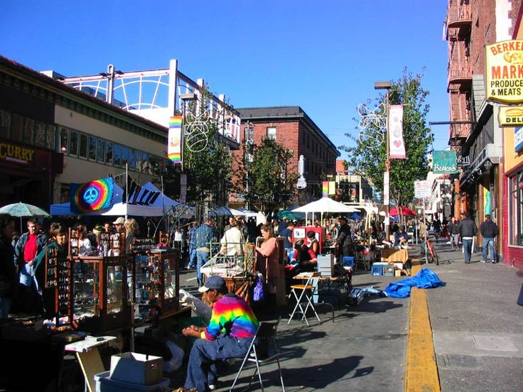 Telegraph Avenue in Berkeley is home to many restaurants, bookstores, and clothing shops, along with street vendors occupying its wide sidewalks. Telegraph attracts a diverse audience of visitors, including college students, tourists, artists, street punks, and eccentrics.