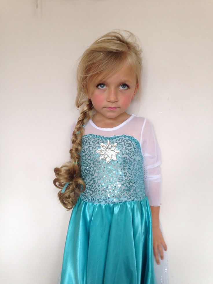 We used a clip in curly hair extension in Miss 6's hair from the local $2 shop, then did a braid including her in hair & a ribbon. It looked very real & looked so much like elsa hair from frozen!