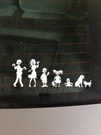Zombie Family Decal Funnyl Bumper Sticker for Car Laptop Material:PVC Color:Black Size:8.6x3inch/22x7.8cm