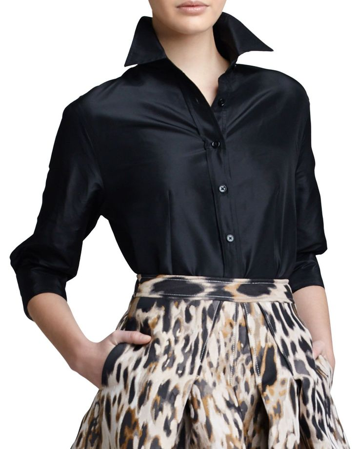Classic Silk Taffeta Blouse, Black by Carolina Herrera at Neiman Marcus.