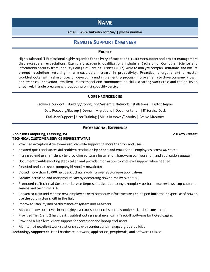 Remote Support Engineer Resume Samples & Template for