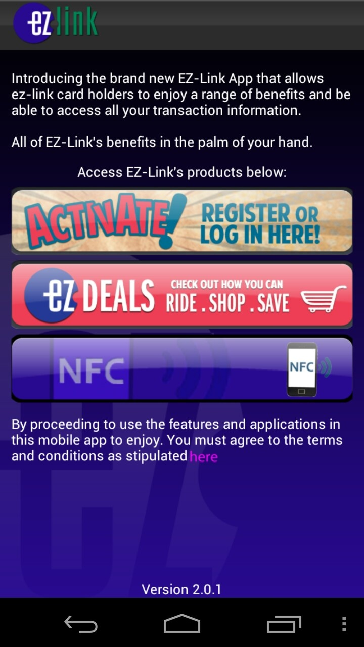 EZ-Link NFC mobile wallet interface in Singapore