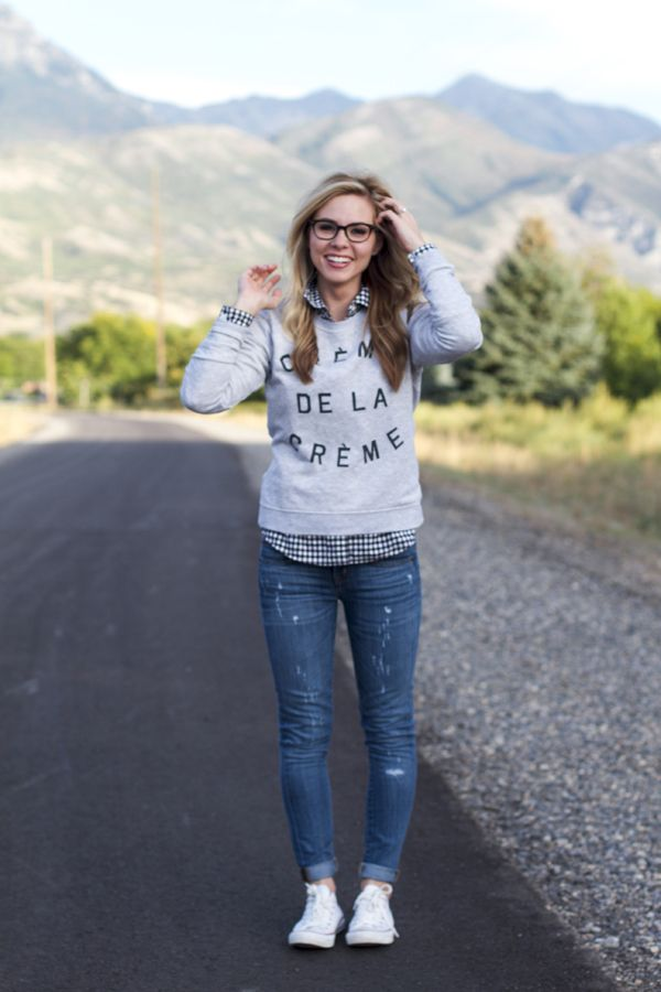 Fall fashion, graphic sweatshirt, converse, our happiness tour