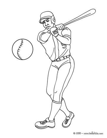 Baseball batter coloring page. More baseball coloring pages on hellokids.com