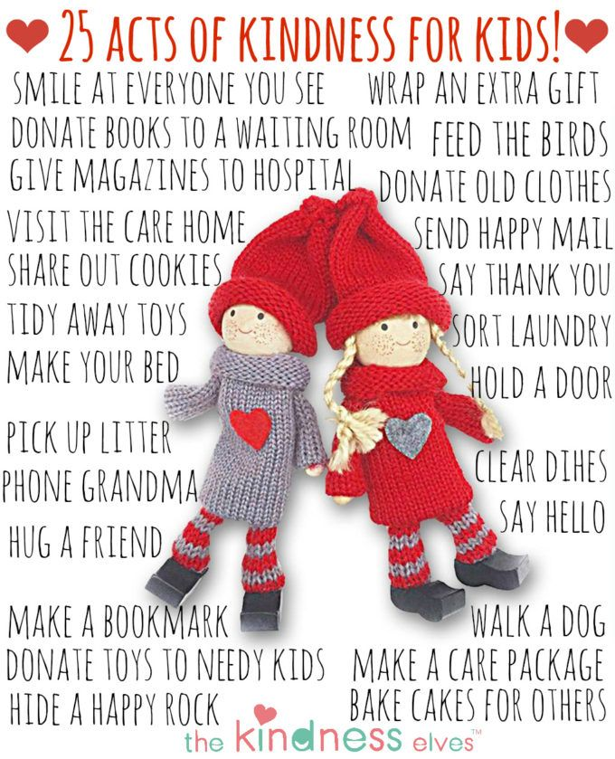 25 Simple Acts of Kindness for Kids- free printable poster. For using with the magical Kindness Elves!