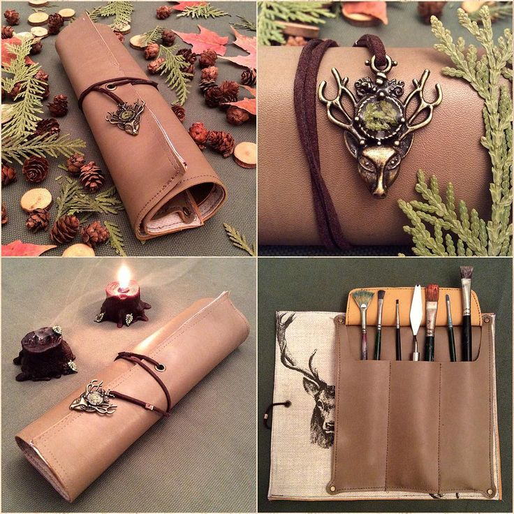 Leather Scroll of Wilderness.  Designed and sewn, beige real leather scroll with stag lining and three pockets inside, resin coated real pressed cedar leaf bits on the charm outside.